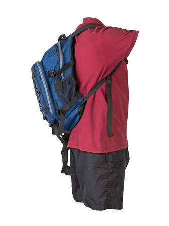denim blue backpack, black sports shorts, dark red shirt with a collar with buttons isolated on white foane. clothes for every day
