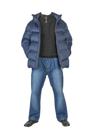 dark blue jeans, black sweater, dark blue down jacket and black leather shoes isolated on white background. Casual style