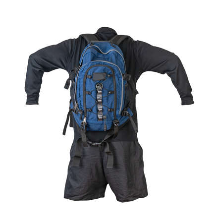 blue backpack, dark black shorts, black sweater isolated on white background. casual wear