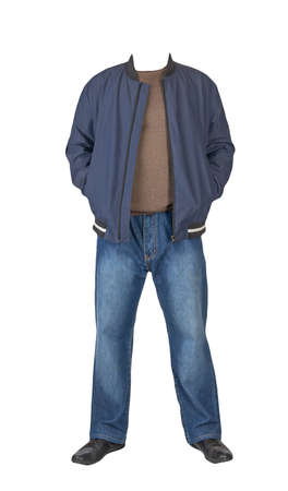 dark blue jeans, brown sweater, dark blue bomber jacket and black leather shoes isolated on white background. Casual style 免版税图像