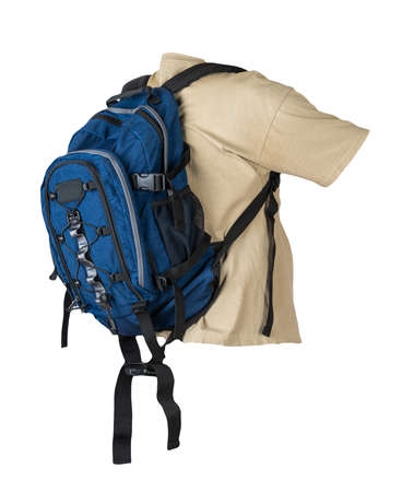 dark blue backpack dressed for beige t-shirt isolated on a white background.