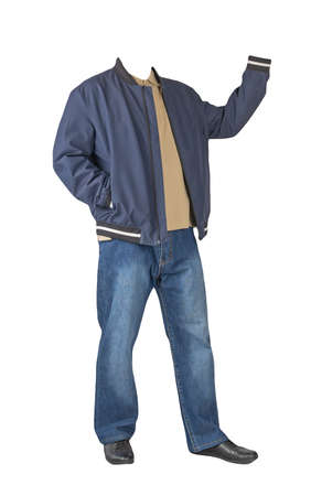 dark blue jeans, beige t-shirt with a collar on buttons, dark blue bomber jacket with hoodand and black leather shoes isolated on white background 免版税图像