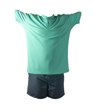 men's sports dark blue shorts and green shirt with a button-down collar isolated on a white background.comfortable clothing for sports