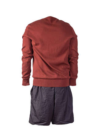 knitted dark red sweater and black shorts isolated on white background. fashionable clothes for every day 免版税图像