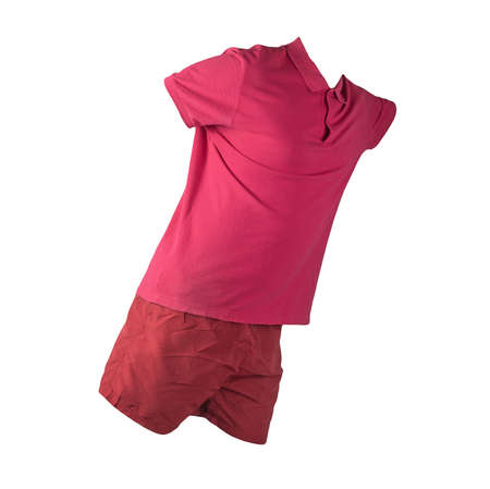 men's sports red shorts and red shirt with a button-down collar isolated on a white background.comfortable clothing for sports 免版税图像