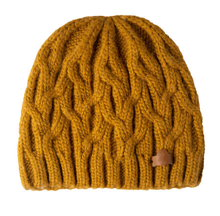 women's dark yellow hat rough knitting isolated on white background. warm winter accessory