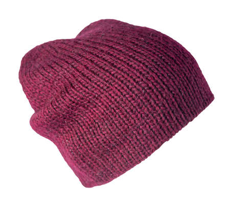 burgundy hat knitted isolated on white background. warm winter accessory