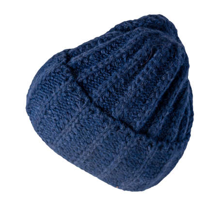 dark blue hat knitted isolated on white background. warm winter accessory