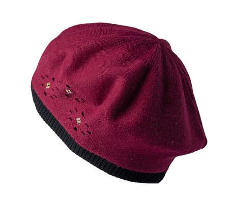 female burgundy black beret isolated on white background. autumn accessory 免版税图像