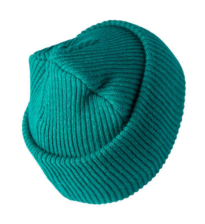 green hat knitted isolated on white background. warm winter accessory