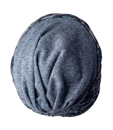 women's gray blue hat knitted isolated on white background. warm winter accessory