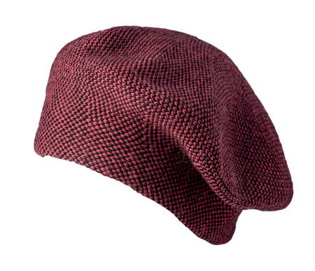 female dark red knitted beret isolated on white background. autumn accessory