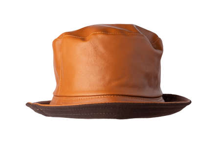 orange hat artificial leather isolated on white background .fisherman's hat, Irish country hat, session hat, panama.