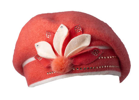 female pink beret isolated on white background. autumn accessory 免版税图像