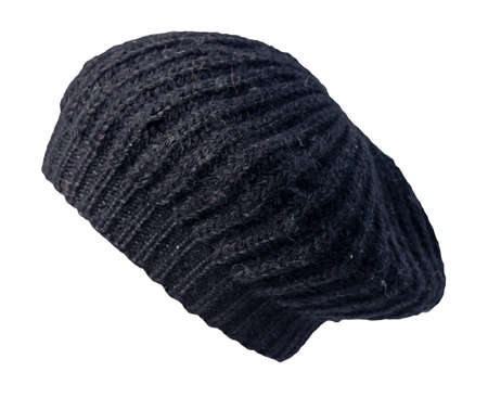 female black knitted beret isolated on white background. autumn accessory