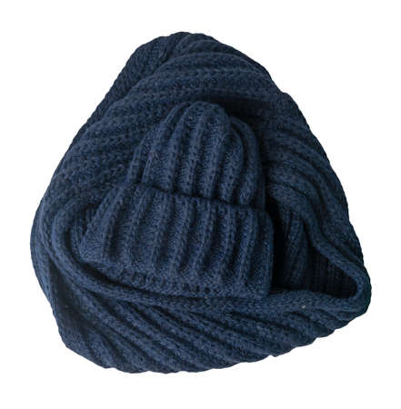 set of dark blue hat and scarf isolated on white background. warm winter accessory