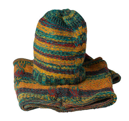 set of green yellow brown red turquoise hat and scarf isolated on white background. warm winter accessory