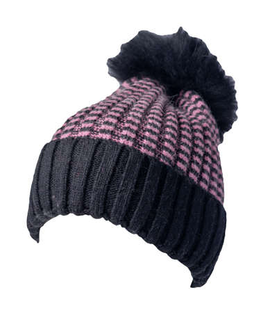 women's pink black hat knitted with pompon isolated on white background. warm winter accessory