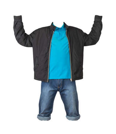 Denim dark blue shorts, blue t-shirt with collar on buttons and black jacket on a zipper isolated on white background 免版税图像