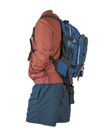 blue backpack, dark blue shorts, red summer jacket isolated on white background. casual wear 免版税图像