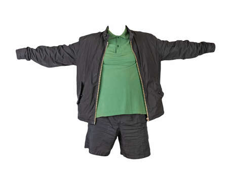 men's black jacket, dark green shirt and black sports shorts isolated on white background. fashionable casual wear