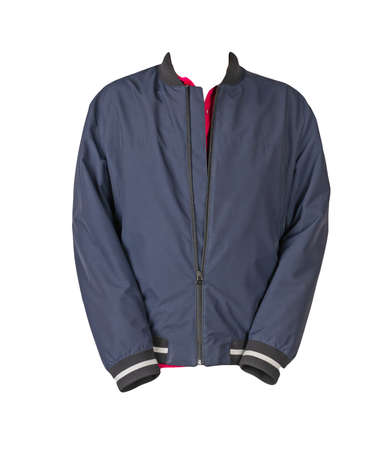 dark blue men's bomber jacket and red shirt isolated on white background. fashionable casual wear 免版税图像