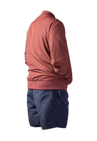 mens red bomber jacket and dark blue sports shorts isolated on white background. fashionable casual wear
