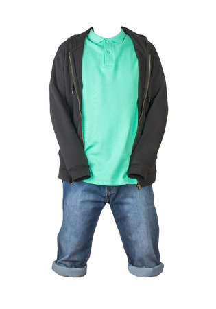 Denim dark blue shorts, green t-shirt with collar on buttons and black sweatshirt with zipper and hood isolated on white background