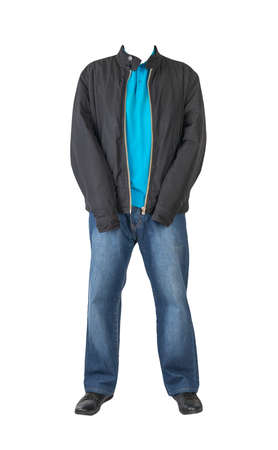 dark blue jeans, blue t-shirt with a collar on buttons, black jacket and black leather shoes isolated on white background