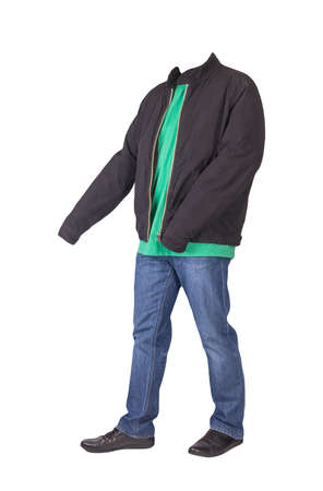 dark blue jeans, green t-shirt, black jacket and black leather shoes isolated on white background