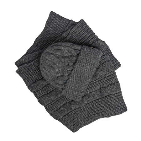 dark gray knitted hats and scarf isolated on a white background. winter accessories 免版税图像