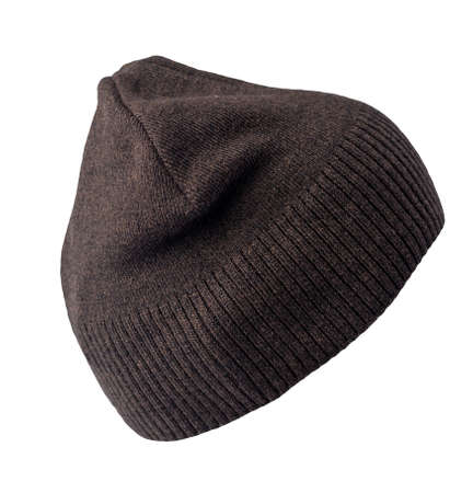 women's brown hat knitted isolated on white background. warm winter accessory 免版税图像