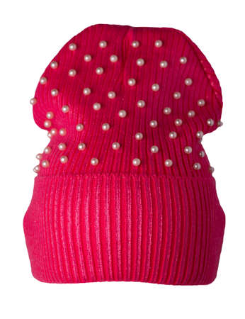 women's red hat with rhinestones knitted isolated on white background. warm winter accessory
