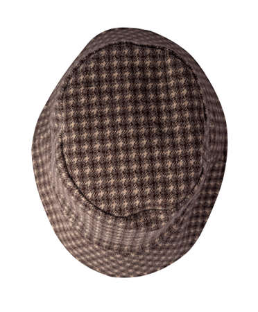 brown beige bucket hat isolated on white background .fisherman's hat, Irish country hat, session hat, panama.