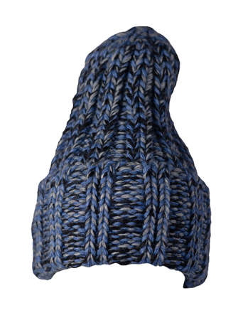 hat dark blue turquoise knitted isolated on white background. warm winter accessory 免版税图像