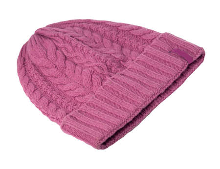 women's crimson knitted hat isolated on white background. warm winter accessory 免版税图像