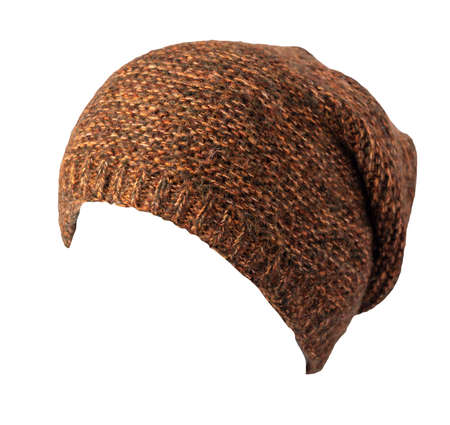 brown hat knitted isolated on white background. warm winter accessory