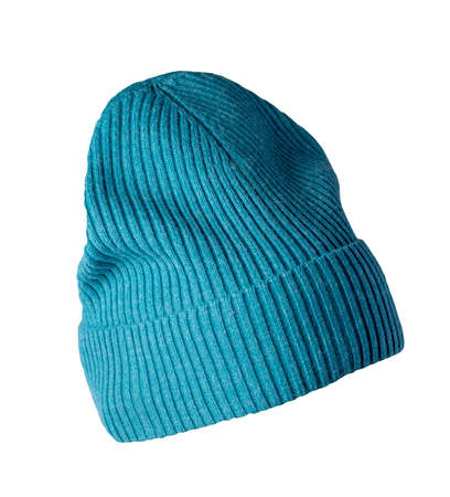 blue knitted hat isolated on white background. warm winter accessory