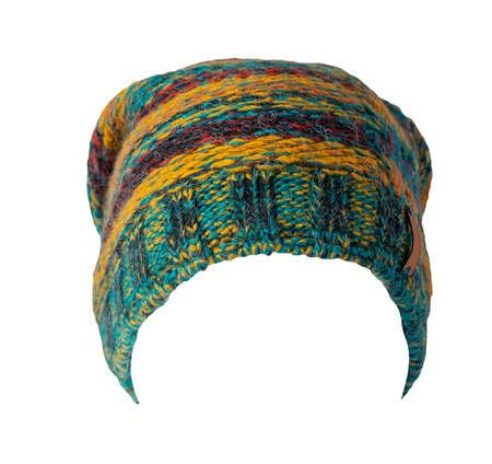 green yellow burgundy blue red knitted hat isolated on white background. warm winter accessory