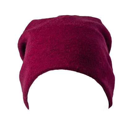 red knitted hat isolated on white background. warm winter accessory