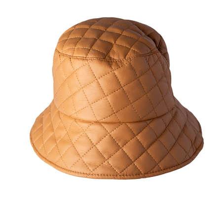 orange bucket hat isolated on white background .fisherman's hat, Irish country hat, session hat, panama. 免版税图像