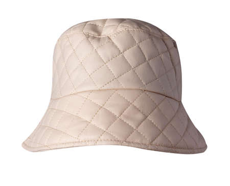 beige hat artificial leather isolated on white background. fisherman's hat, Irish country hat, session hat, panama. 免版税图像