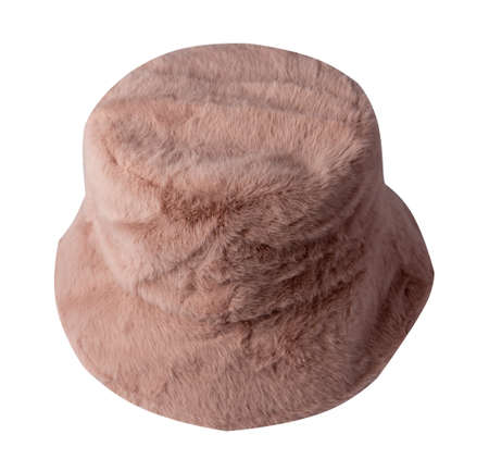 autumn pink bucket hat artificial fur isolated on white background .fisherman's hat, Irish country hat, session hat, panama.