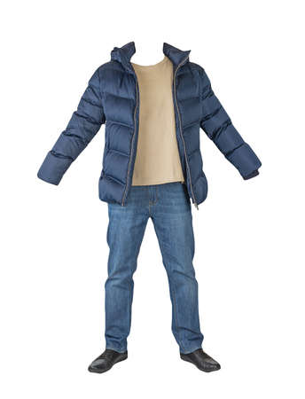 dark blue jeans, beige t-shirt, dark blue down jacket and black leather shoes isolated on white background