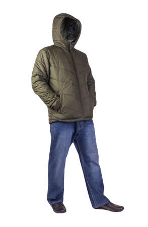 dark blue jeans, black leather shoes, dark green jacket with a hood isolated on white background. Casual style