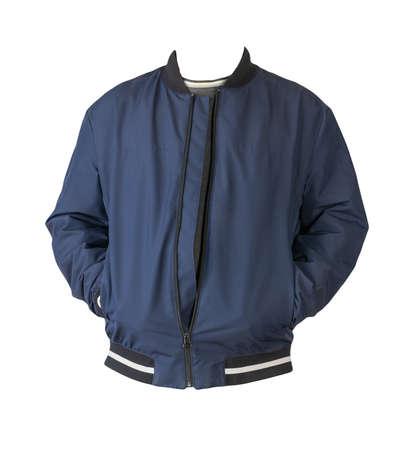 dark blue bomber jacket and dark gray sweater isolated on white background