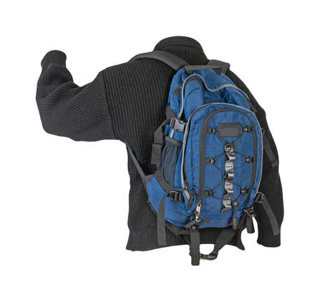 blue backpack dressed in a knitted black sweater isolated on a white background. backpack and male sweater view from the back 免版税图像