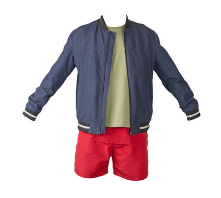 mens dark blue bomber jacket, olive t-shirt and sports red shorts isolated on white background. fashionable casual wear