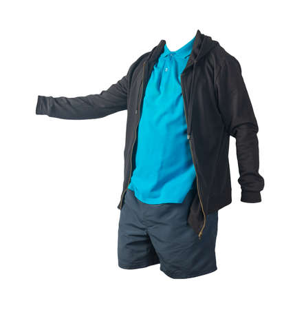 black sweatshirt with iron zipper hoodie, blue t-shirt and dark blue sports shorts isolated on white background. casual sportswear
