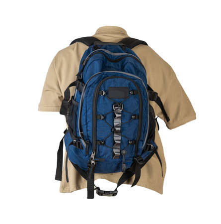 blue backpack dressed for beige t-shirt isolated on a white background. backpack and male sweater view from the back